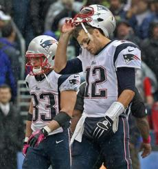 Brady connected with Wes Welker on the Patriots' last offensive play of the day, but the team failed to get a first down.