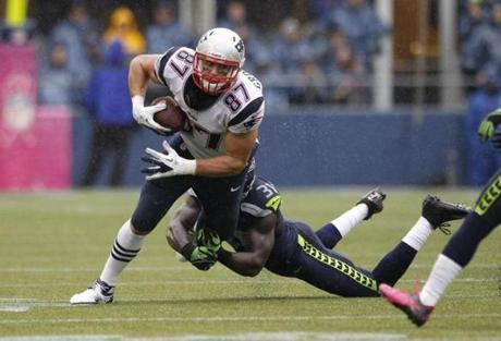 Tight end Rob Gronkowski battled for yards in the second half.