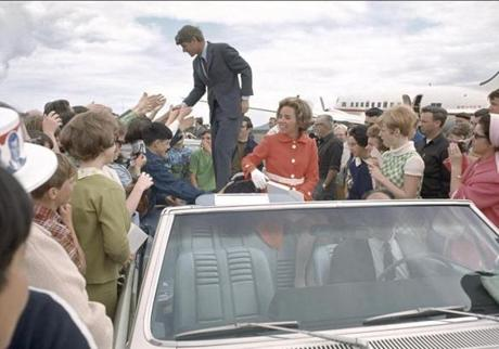 Robert (left) & Ethel Kennedy greeting supporters during the US presidential campaign during the May Oregon Primary in 1968.