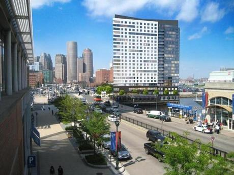 The Hanover Co.'s planned apartment and retail tower at the entrance to Pier 4 along Northern Avenue is shown in an artist's rendering.