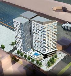A artist's rendering shows an aerial view of The Hanover Co.'s apartment and retail tower at Pier 4.