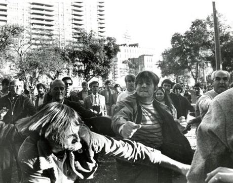 October 15 1969: As 100,000 persons moved off of Boston Common in the late afternoon, a single fistfight broke out between several students arguing over the legitimacy of the protest.