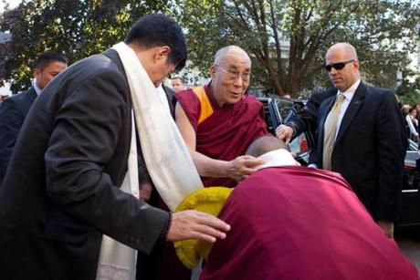 The Dalai Lama arrived at the Kurukulla Center for Buddhist Studies.