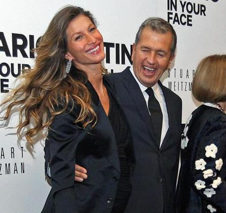 Model Gisele Bundchen and photographer Mario Testino at the MFA on Wednesday night.