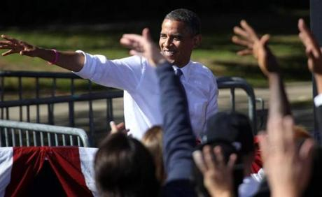 President Obama made a campaign stop Thursday at Veteran's Memorial Park in downtown Manchester, N.H.
