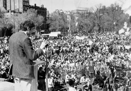 Howard Zinn addressing an antiwar rally on Boston Common in 1971.