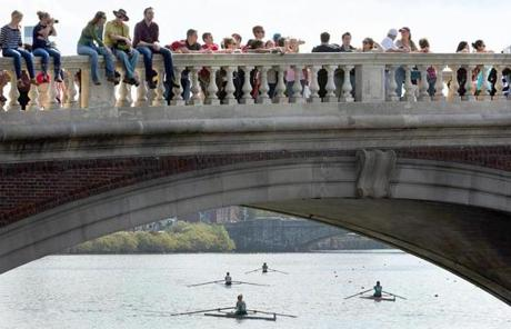People also watched the races from the bridges in the area.