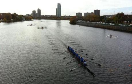 Senior Master Eights men's crews were in action on the Charles River on Saturday morning.