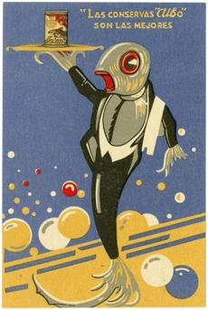 Advertisement for Albo canned fish about 1930.