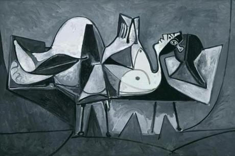 "In ""Reclining Woman Reading"" Picasso bids to convey on a flat surface a female body perceived in the round."