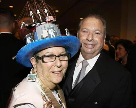 10-20-2012 Boston, Mass. 500 guests attended the 1812 USS Constitution Museum Bicentenial Chairman's Dinner and Awards Ceremony held at the Seaport Hotel. L. to R. are Lynne and Gary Smith of Wellesley. Globe photo by Bill Brett