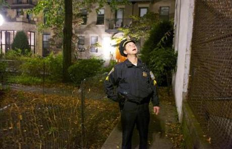 Sergeant Lema got the attention of partygoers at a noisy apartment to tell them to quiet down. Sound carries well in a neighborhood of narrow streets packed with skinny townhouses.