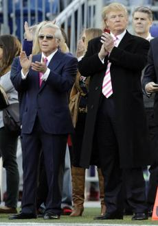 Patriots owner Robert Kraft, left, was joined on the sidelines by his friend Donald Trump prior to the game.