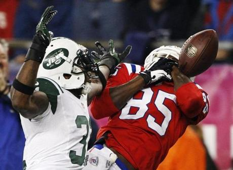 The Patriots experienced some trouble in the fourth quarter however, as the Jets erased the 10-point deficit and even took a 26-23 lead. Brandon Lloyd was unable to corral this pass.
