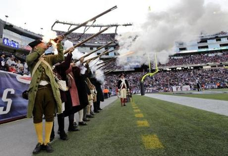 The Patriots' Minutemen militia had plenty to celebrate during the first half, and then saw New England take a 16-10 lead into halftime.