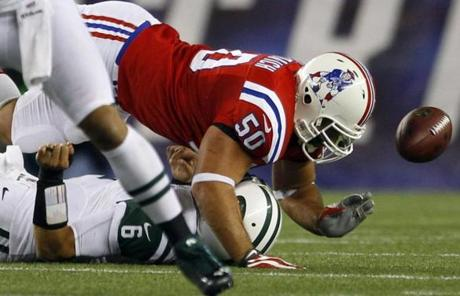 The sack and fumble sealed the 29-26 overtime victory for the Patriots.