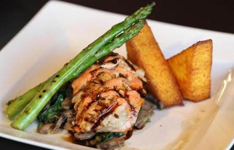 Salmon is another dish served at 75 on Liberty Wharf.