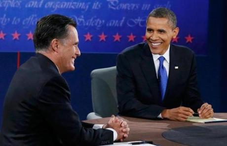 Romney and President Obama shared a laugh.