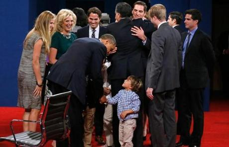 President Obama greeted members of Romney's family at the end of the event.