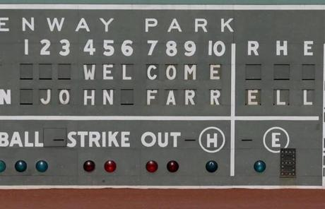 The Red Sox welcomed Farrell in a message posted on the scoreboard of the left field wall.