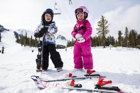 Mammoth Mountain in California's Eastern Sierra offers lessons and slopes for truly novice skiers like these two.