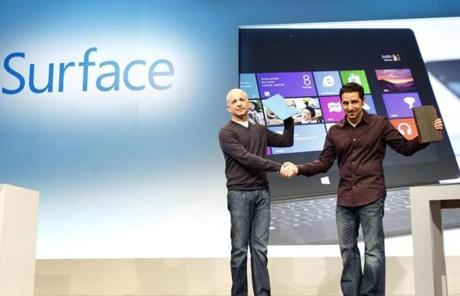 Windows president Steven Sinofsky, left, and Panos Panay, general manager for Surface Computing, introduced Microsoft's Surface on Thursday.