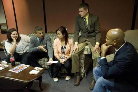 Wes Moore chatted backstage at Lowell Memorial Auditorium with (from left) Amber Livingston, Michael Roman, April Rom, and Cody Kuenzler, Greater Lowell Technical High School students who arranged his visit.