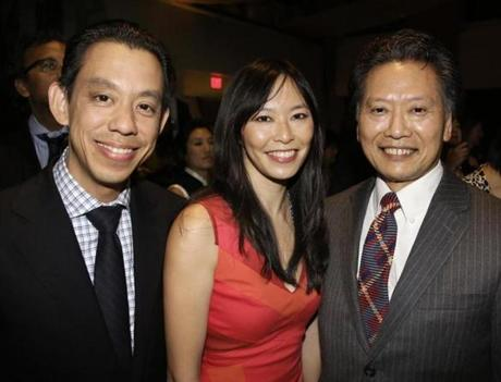 10-26-2012 Boston, Mass. 500 guests attended 2012 Silk Road Gala at the State Room, the 19th Annual benefit for the Asian Task Force Against Domestic Violence, L. to R. are Geoff Why of Watertown, Janelle Chan of Boston and Nick Chau of Newton. Globe photo by Bill Brett