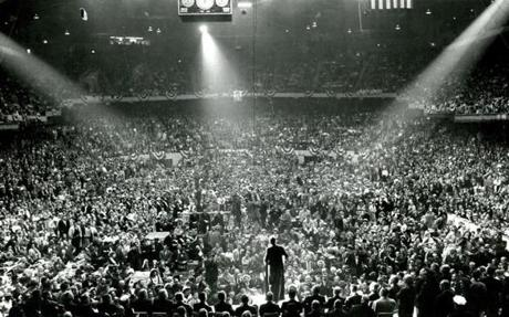 November 7, 1960: Sen. John F. Kennedy winds up his Presidential campaign at a huge rally in Boston Garden. After a whirlwind tour through New England on the final day of campaigning JFK returns to address a crowd of over 22,000 enthusiastic supporters. He reminds the supporters of his Boston roots.