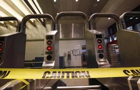 The subway system in New York City was shut down on Sunday night.