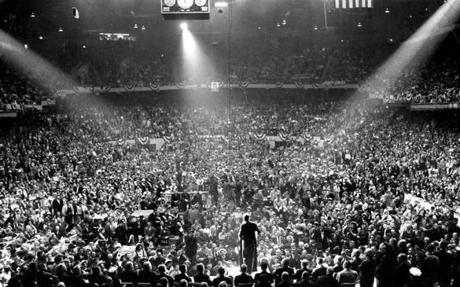 Senator John F. Kennedy wound up his presidential campaign at a huge rally in Boston Garden on Nov. 7, 1960. After a whirlwind tour through New England on the final day of campaigning JFK returned to address a crowd of over 22,000 enthusiastic supporters. He reminded the supporters of his Boston roots.