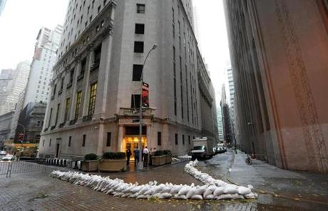 Sandbags were outside the New York Stock Exchange.