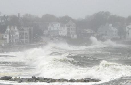 Waves crashed over Winthrop Shore Drive in Winthrop.