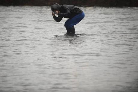 A woman took a picture of flood waters in the Red Hook neighborhood of Brooklyn.