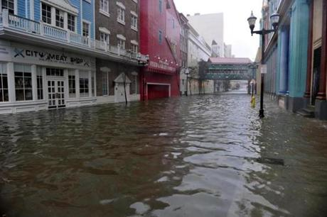 A flooded street is seen between two casinos in Atlantic City.