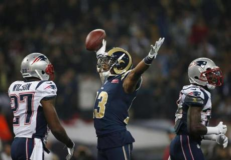 Rams wide receiver Chris Givens reacted after a catch during the first half of the team's game vs. the Patriots in London on Sunday.