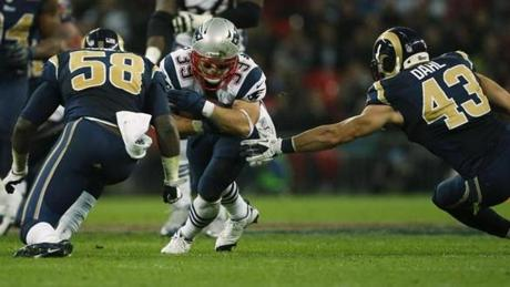 Danny Woodhead barreled through some Rams defenders for some tough yards.