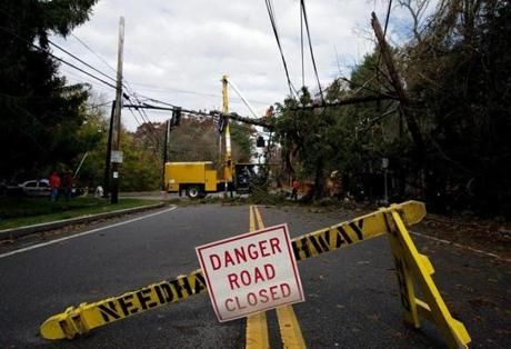 Needham public works crews removed a large tree from power lines and traffic lights.