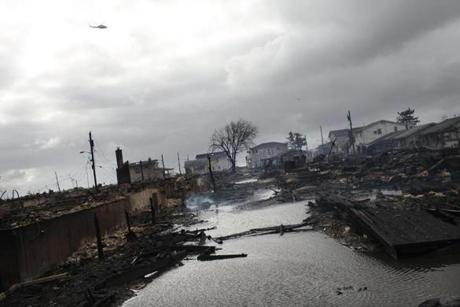 Homes were destroyed in the Breezy Point neighborhood of Queens in New York.