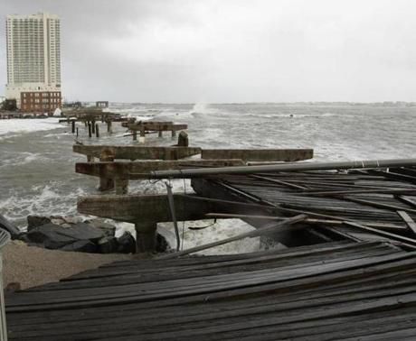 The boardwalk was demolished in the north end of Atlantic City after Hurricane Sandy made landfall.