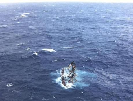 The HMS Bounty, a 180-foot sailboat, was submerged in the Atlantic Ocean during Hurricane Sandy approximately 90 miles southeast of Hatteras, N.C.