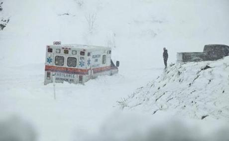 An ambulance was stuck in more than a foot of snow off of Highway 33 near Belington, W.Va.