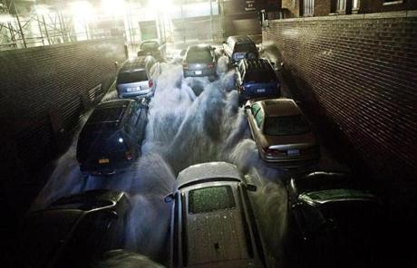 Water rushed into an underground parking garage in New York's Financial District.