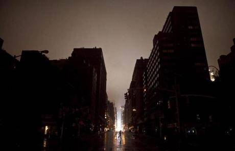 A darkened street in New York.