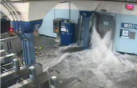 A surveillance camera captured the PATH station in Hoboken, N.J., as water poured in.