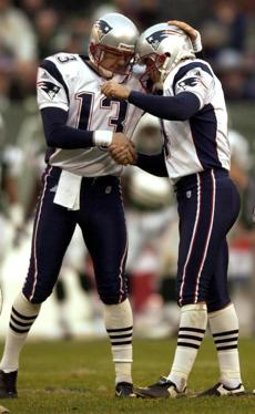 Patriots kicker Adam Vinatieri, right, celebrated his game-clinching field goal with holder Ken Walter.