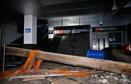 A beam fell in the South Ferry-Whitehall subway terminal in lower Manhattan.