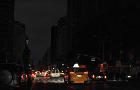 Second Avenue in New York remained dark Wednesday.