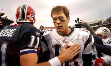 Brady met briefly with former teammate Drew Bledsoe after the game.