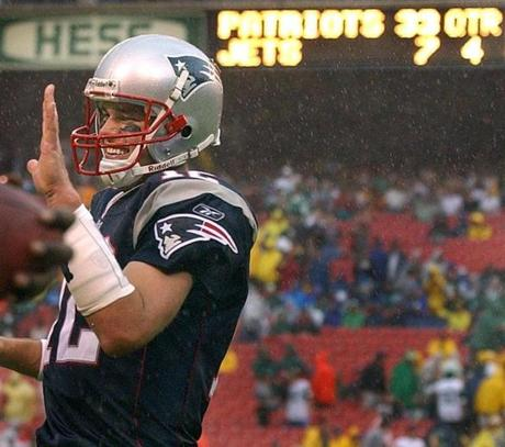 Tom Brady was all smiles after hitting Deion Branch with a 49-yard fourth quarter touchdown pass.